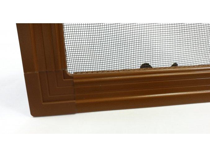 Okenní síť proti hmyzu ISSO s lemem - SVĚTLE HNĚDÁ RAL 8003