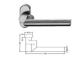 SCHÜCO Dveřní klika pro hliníkové dveře INOX leštěná nerez -S240038