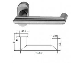 SCHÜCO Dveřní klika pro hliníkové dveře INOX leštěná nerez-S240009