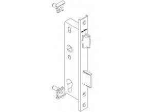 """SCHÜCO Dveřní zámek pro hliníkové dveře pravolevý - dorn 34, rozteč 92, čelo """"U"""" 245 -S241180"""