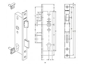 SCHÜCO Dveřní zámek pro AL dveře - S241181