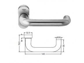 SCHÜCO Dveřní klika pro hliníkové dveře INOX leštěná nerez-S210713