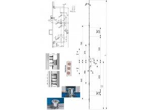 Zámek Maco závěrové body i.S., dorn 45 mm, ovládání klíčem