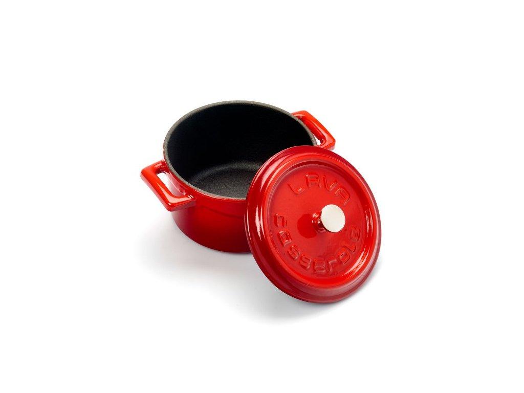 Litinový mini hrnec kulatý 10cm - červený