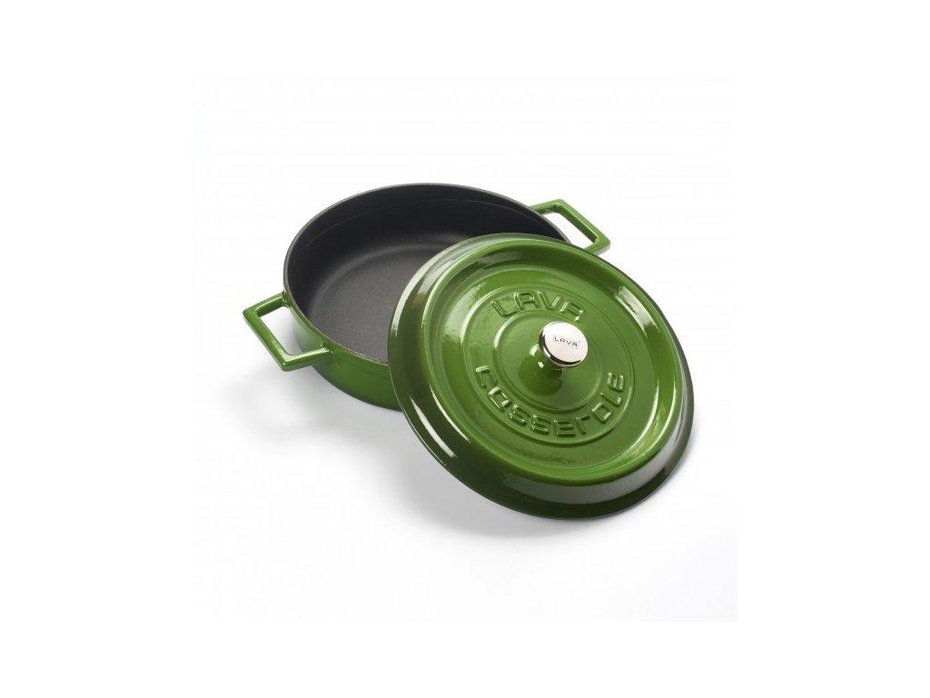 Litinový hrnec nízký kulatý 24cm - zelený