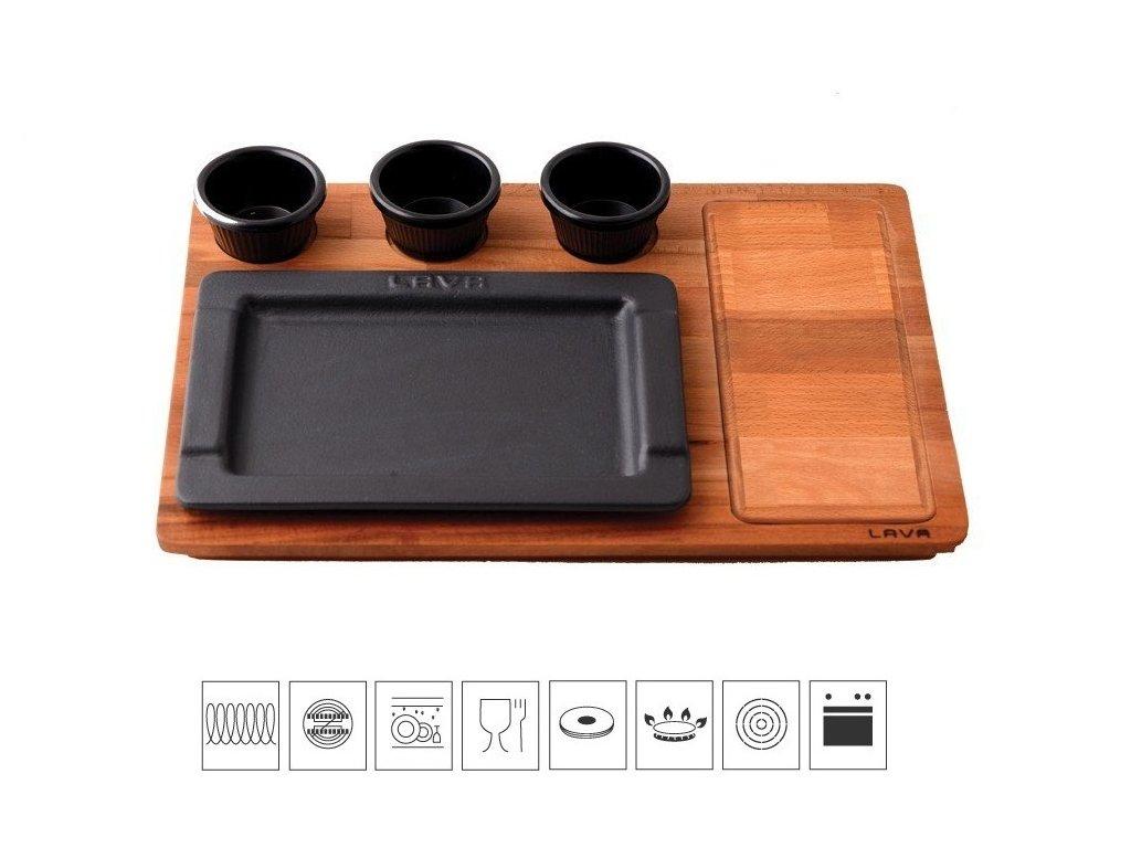 Litinový servírovací talíř 25x17 cm s dřevěným podstavcem