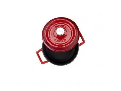 Litinový hrnec kulatý 16cm - červený