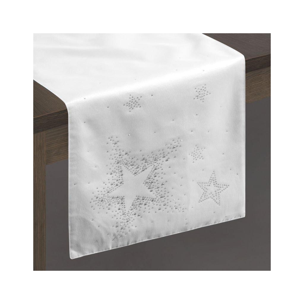 Behúň LIVVI zdobený kryštálovou aplikáciou 35 x180 cm