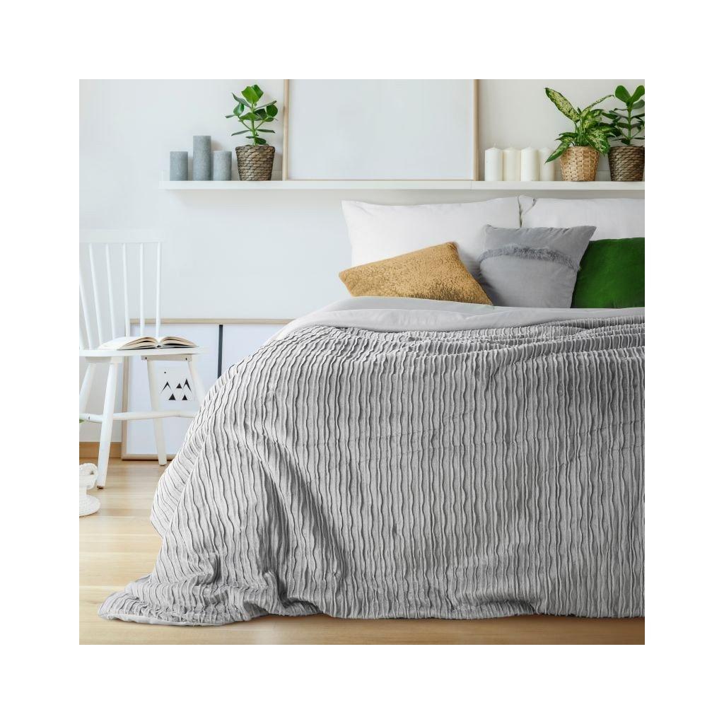 Prehoz na posteľ AVILLA strieborný  220x240 cm