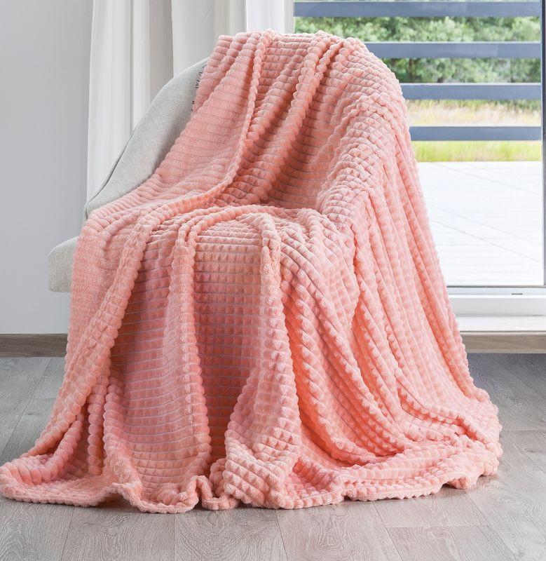 Jemná ružová deka AGIS s 3D efektom 70x160 cm