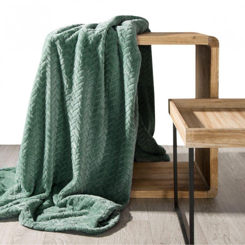 Jemná mentolová deka CINDY s 3D efektom 70x160 cm