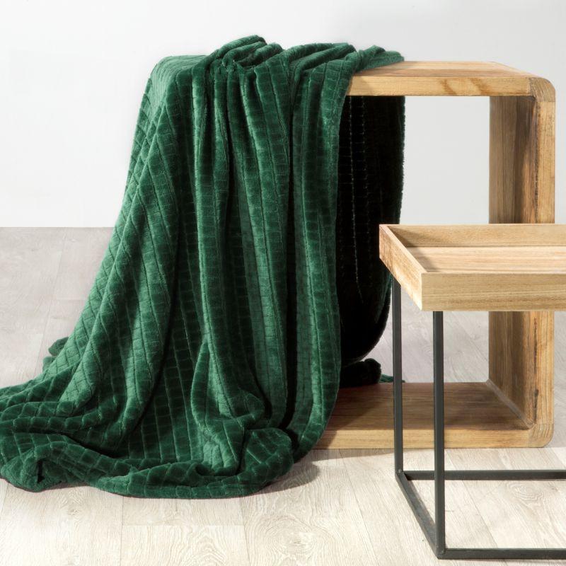 Hebká zelená deka CINDY2 so štvorcovým vzorom 70x160 cm