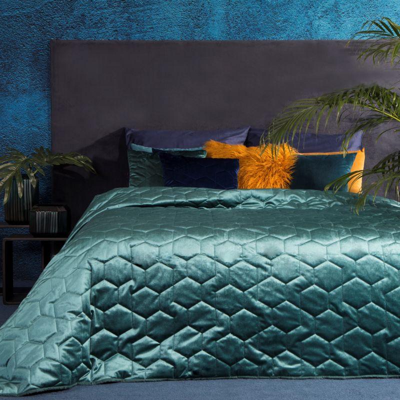 Tyrkysový zamatový prehoz na posteľ ISLA 170x210 cm