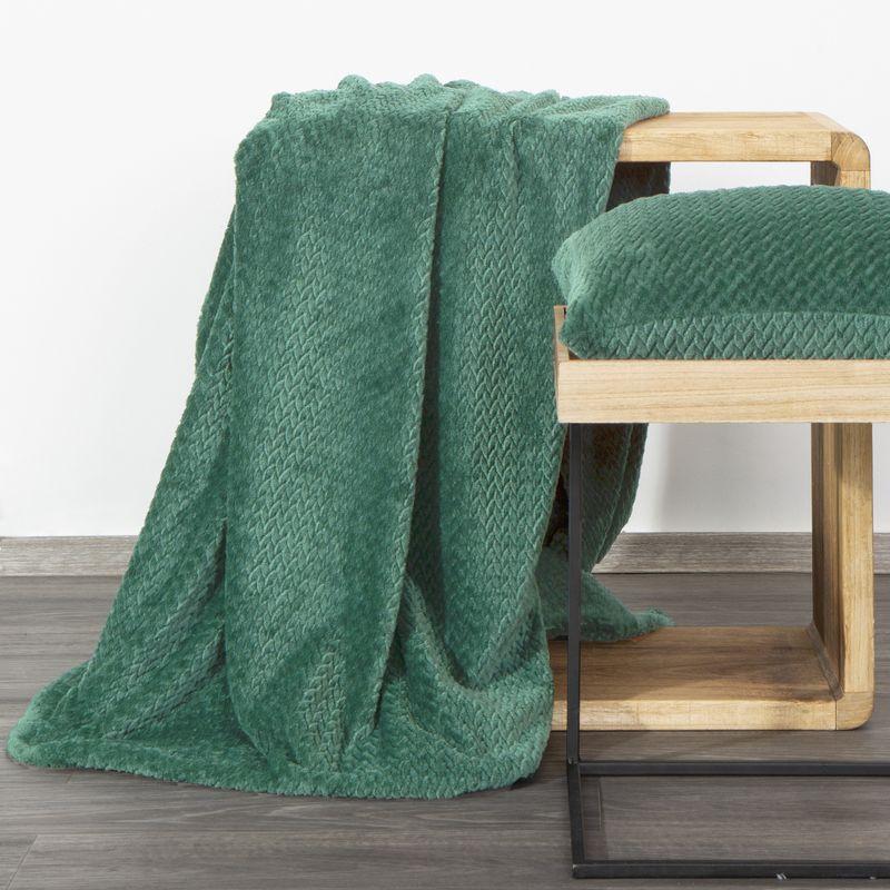 Eurofirany Hebká zelená deka CINDY3 s 3D efektom 70x160 cm