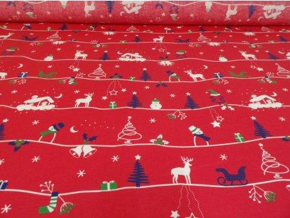 DOMESTINO 120/ 22020-1 Vánoční krajina na červené - 160cm / VELKOOBCHOD