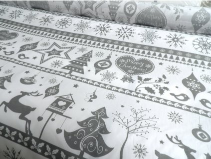 DOMESTINO 120/ 21942-1 Vánoční ozdoby/vločky šedé na bílé - 160cm / METRÁŽ NA MÍRU
