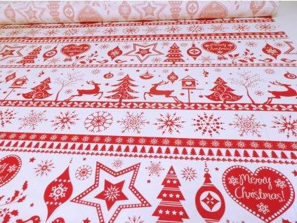 DOMESTINO 120/ 21942-2 Vánoční ozdoby/vločky  červené na bílé - 160cm / METRÁŽ NA MÍRU