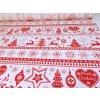 DOMESTINO 120/ 21942-2 Vánoční ozdoby/vločky  červené na bílé - 160cm / VELKOOBCHOD
