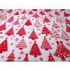 DOMESTINO 120/ 22042-1 Vánoční stromky červené na bílé - 160cm / VELKOOBCHOD