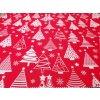DOMESTINO 120/ 22041-1 Vánoční stromky bílé na červené - 160cm / METRÁŽ NA MÍRU