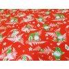 DOMESTINO 120/22296-4 Vánoční zelený skřítek na červené - 160cm / METÁŽ NA MÍRU