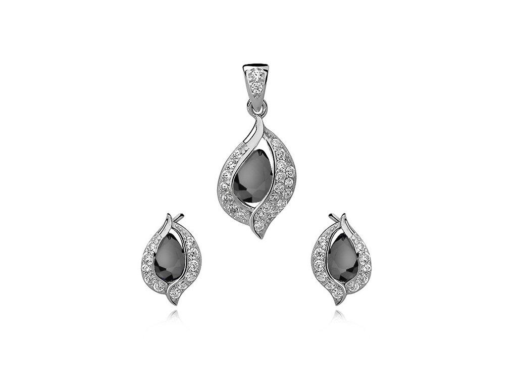 Černá sada BLACK stříbrných šperků se zirkony