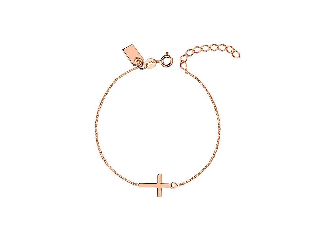 Stříbrný růžový náramek s křížkem od OLIVIE.
