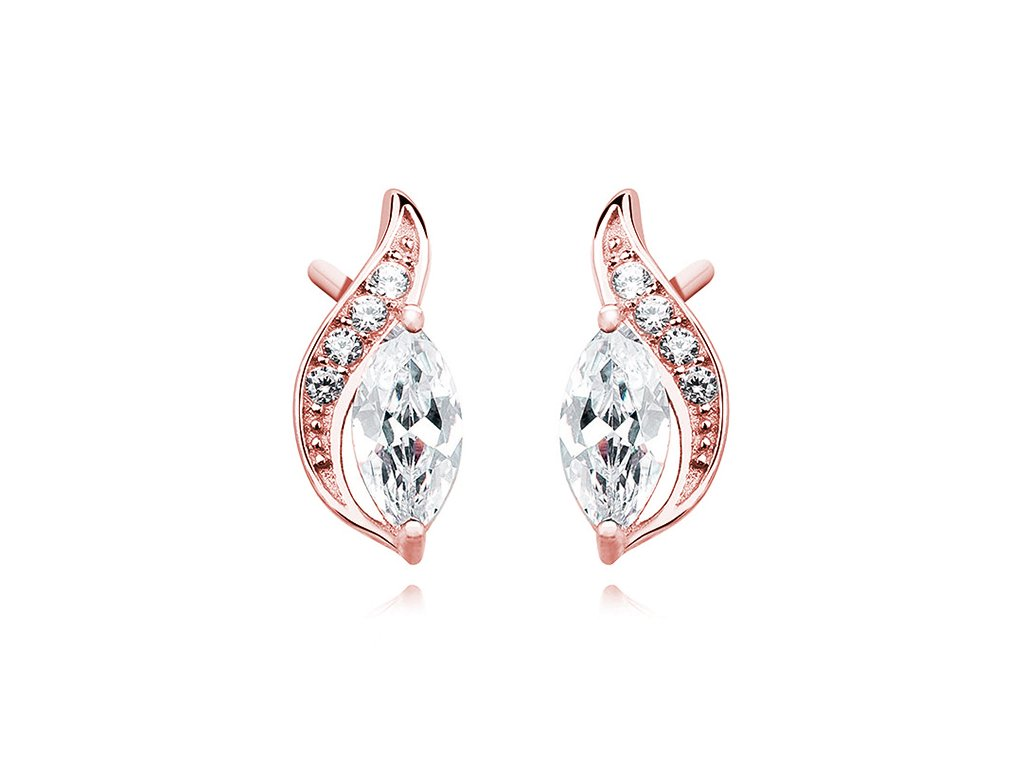 Stříbrné náušnice s růžovým pozlacením. Vánoční nebo narozeninový dárek pro partnerku, dceru, manželku, přítelkyni.