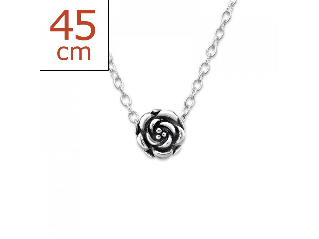 Stříbrný řetízek růže OLIVIE.CZ