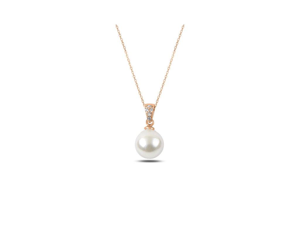 Stříbrný řetízek s perličkou ROSE, růžově zlaceno.