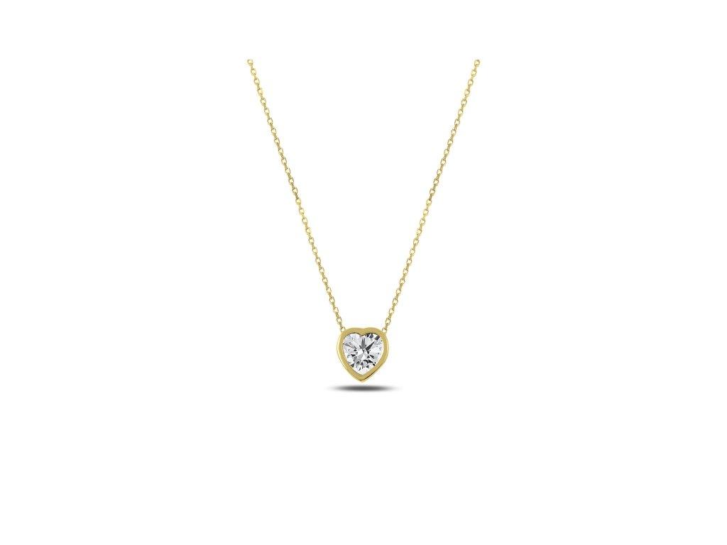 3154 Stříbrný řetízek ZIRKONOVÉ SRDCE GOLD  Ag 925; ≤1,85 g.
