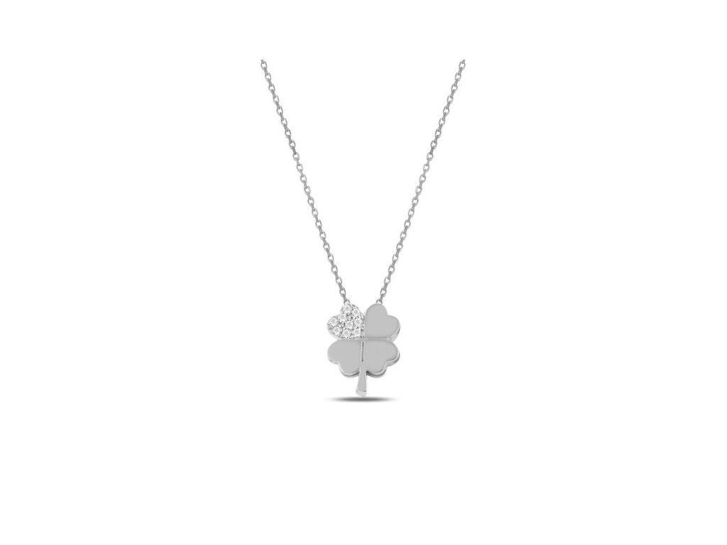 Stříbrný náhrdelník ČTYŘLÍSTEK SWAROVSKI