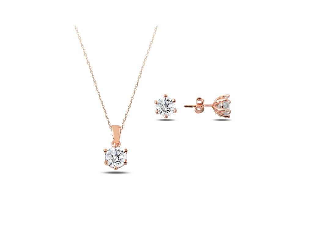 Sada stříbrných šperků ZIRKON ROSE