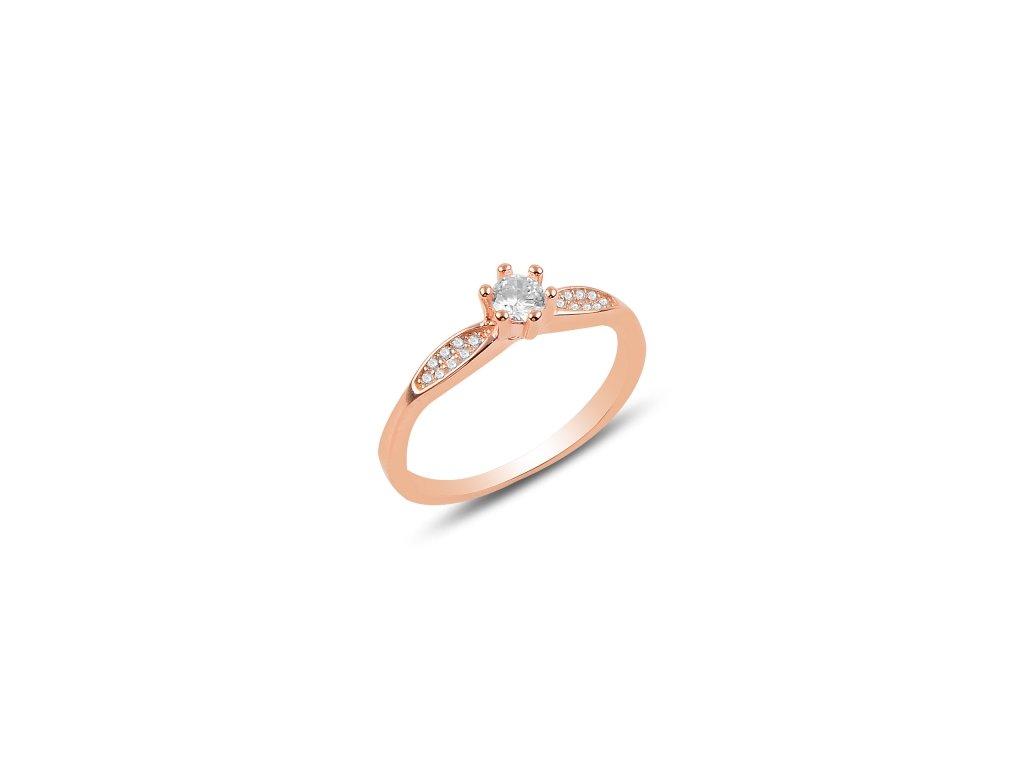 Stříbrný prsten ROSE, růžově pozlacený. Nádherně třpytivý decentní prstýnek.