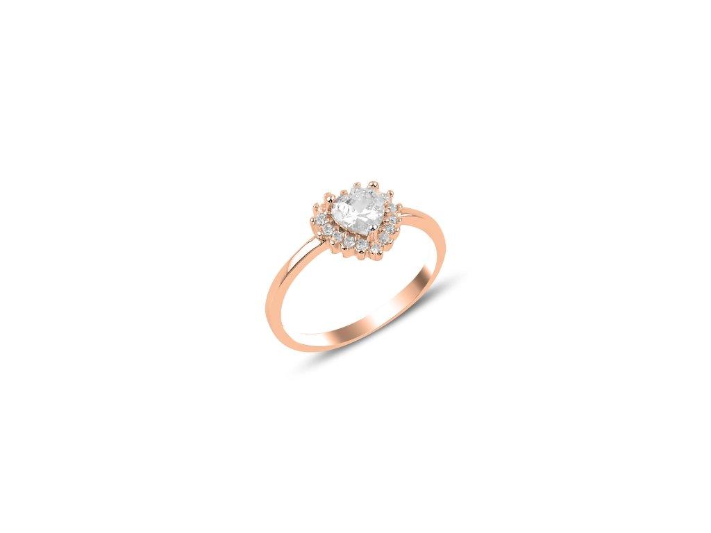 Stříbrný prsten SRDCE ROSE, růžově zlaceno. Dárek z lásky.