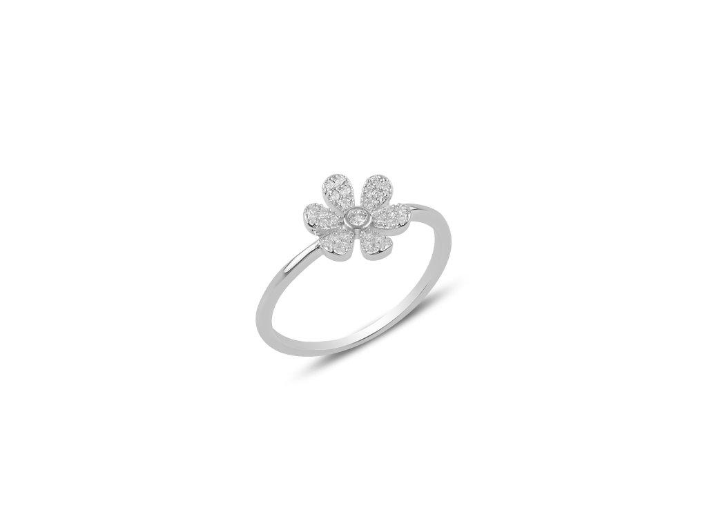 Stříbrný květinový prsten