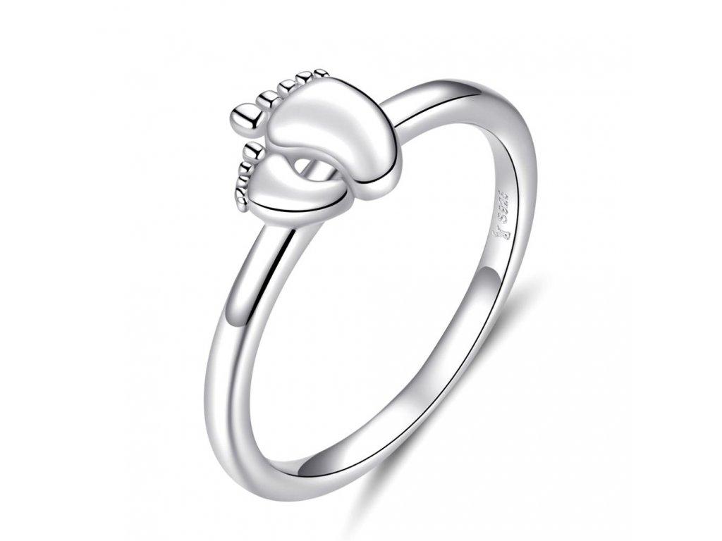 Stříbrný prsten NOŽIČKY, dárek za narození dítěte