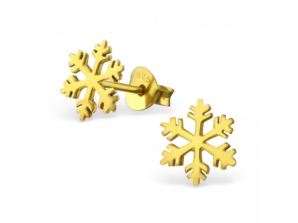 Stříbrné náušnice SNĚHOVÁ VLOČKA GOLD