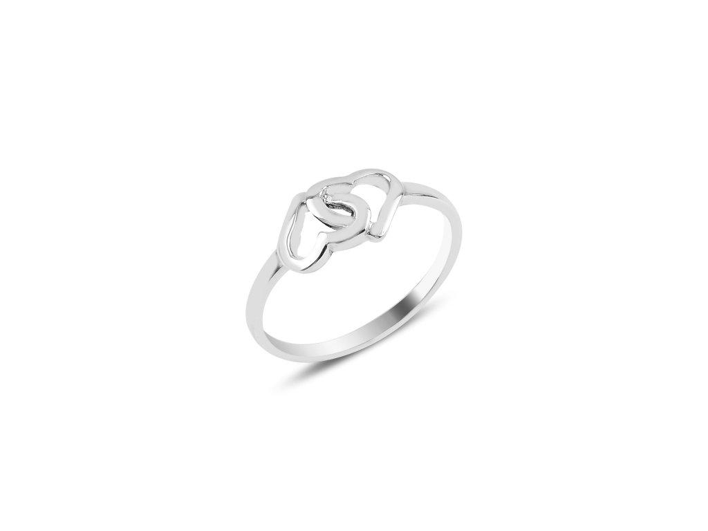 Stříbrný prsten SPOJENÁ SRDCE se dvěma srdíčky