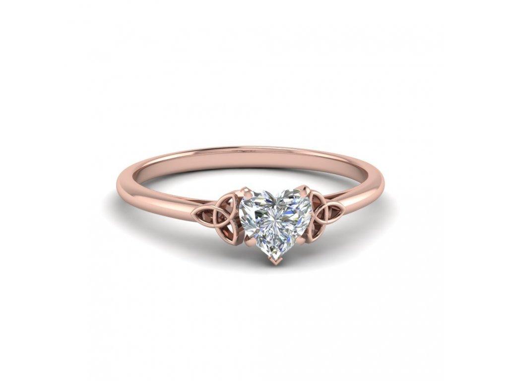Růžově zlacený stříbrný prstýnek ROSE se srdíčkem