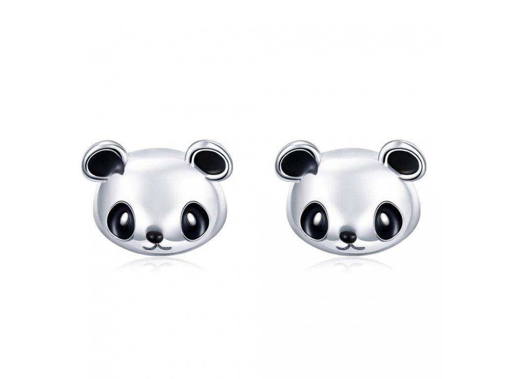 Stříbrné náušnice PANDA