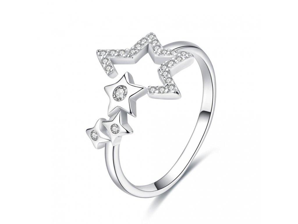 Nastavitelný stříbrný prsten HVĚZDY