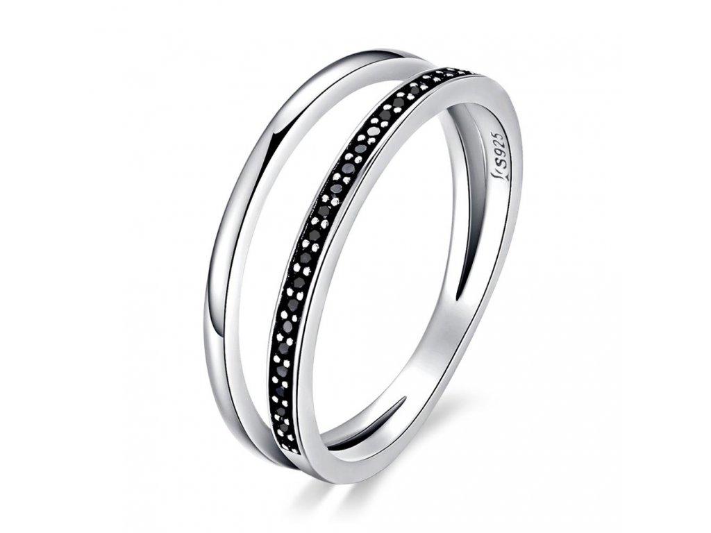 Stříbrný prsten ČERNÁ LINIE