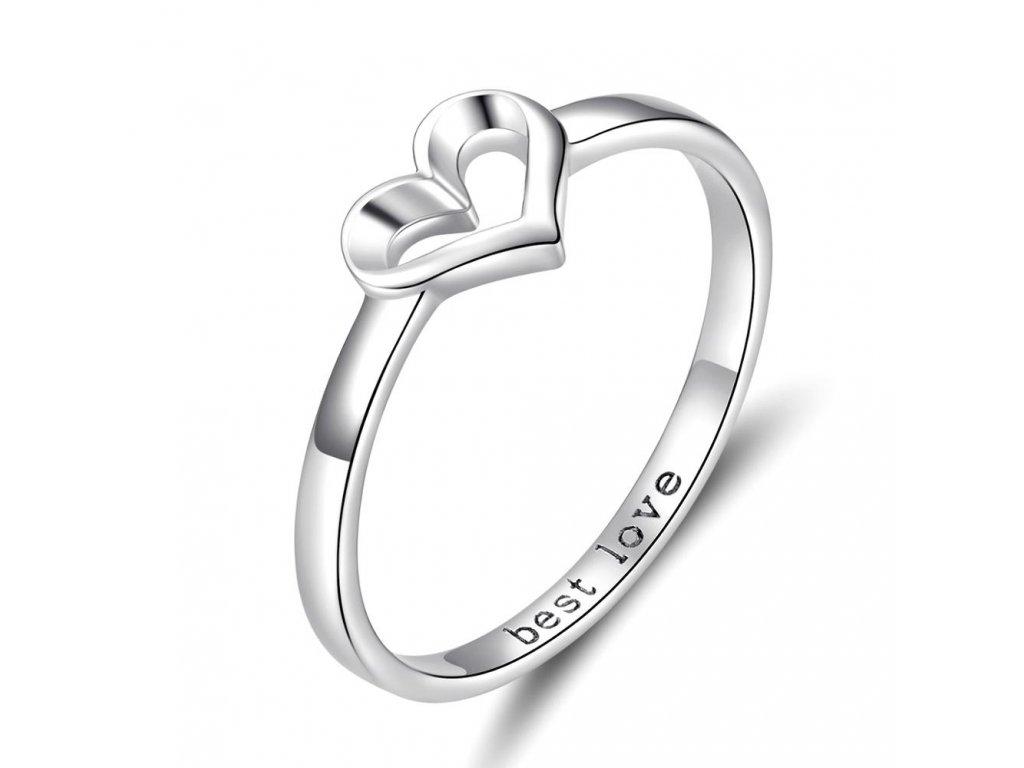 Stříbrný prsten SRDCE BEST LOVE