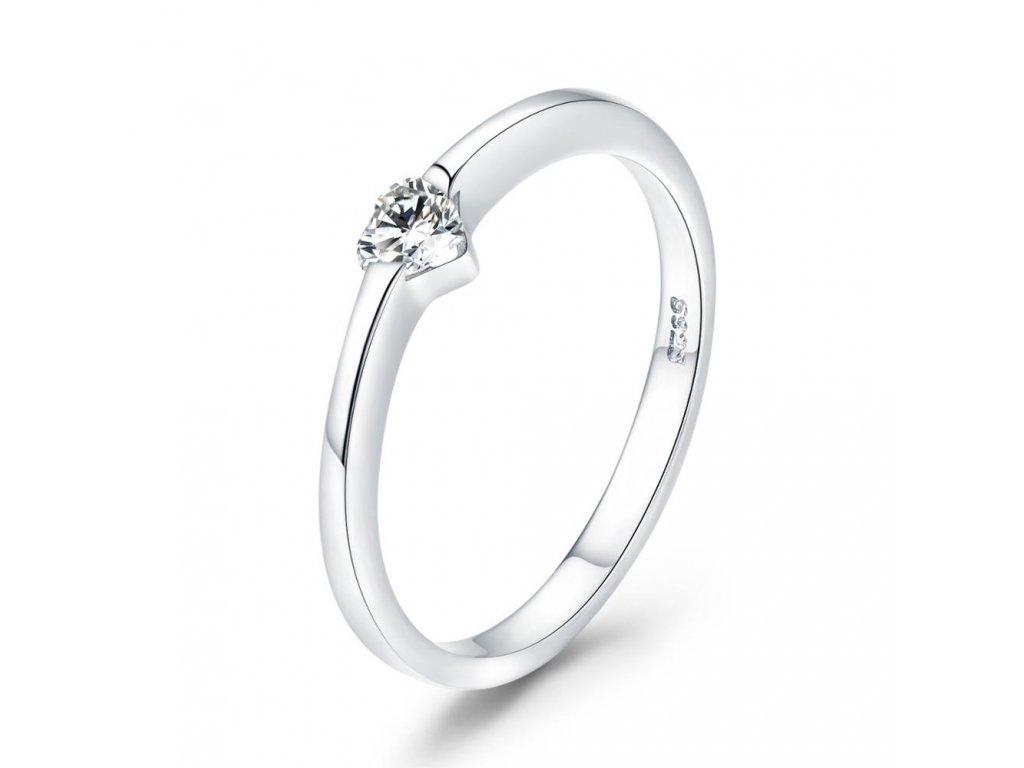 Stříbrný prsten zirkonové SRDÍČKO