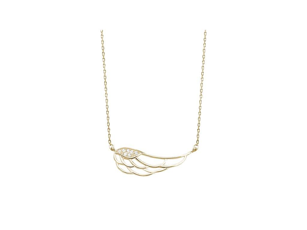 Stříbrný náhrdelník KŘÍDLO GOLD se zirkony