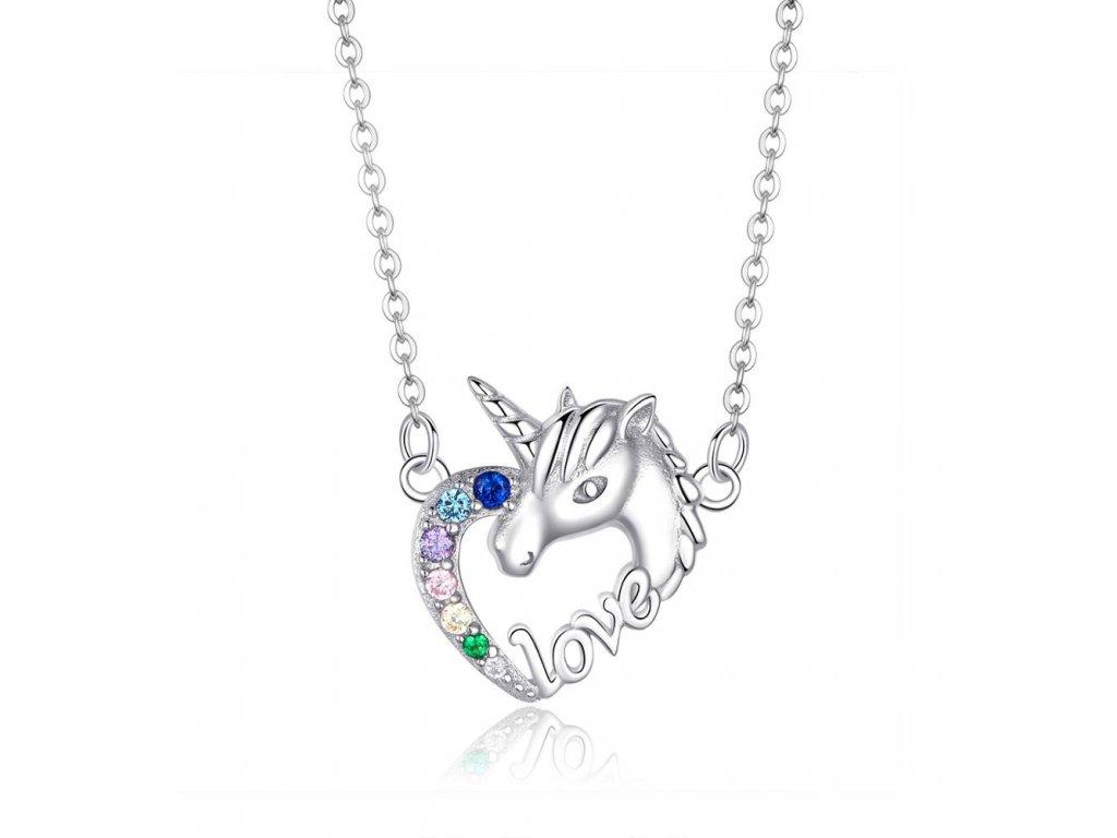 Stříbrný náhrdelník JEDNOROŽEC V SRDCI