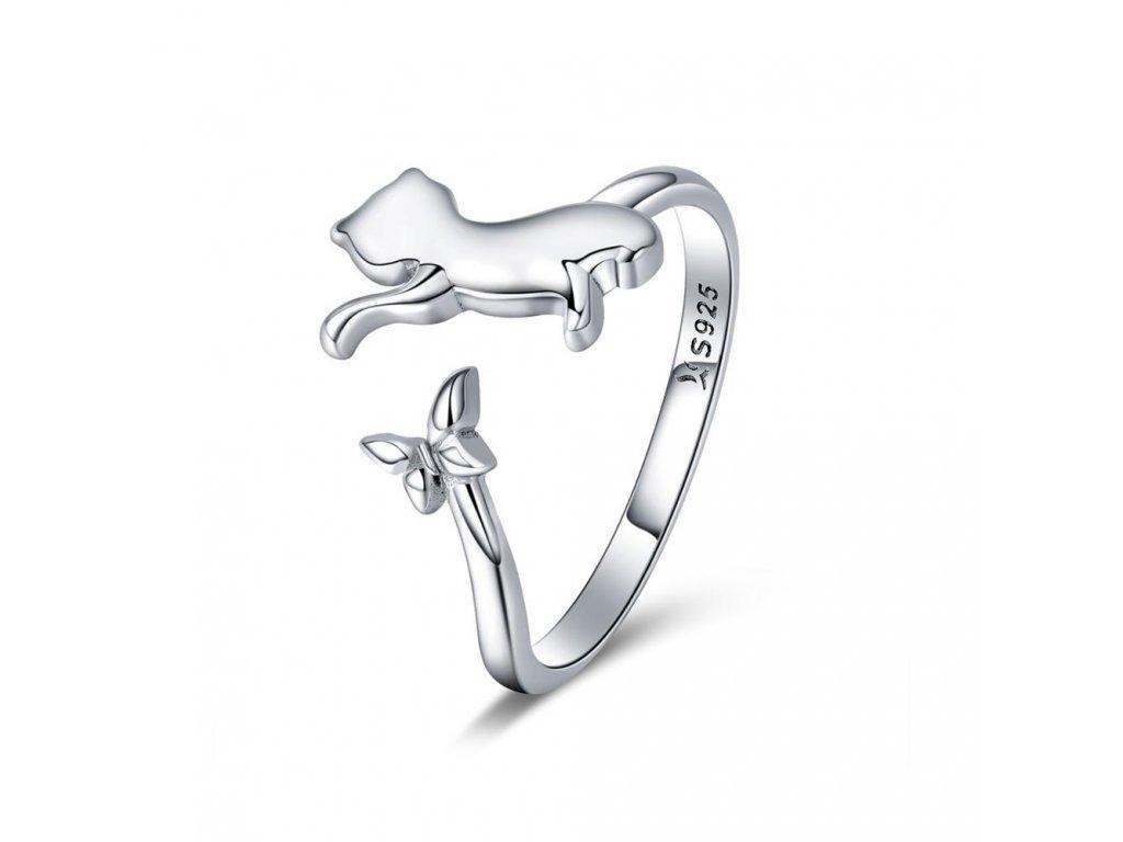 KOČKA S MOTÝLKEM  stříbrný prsten