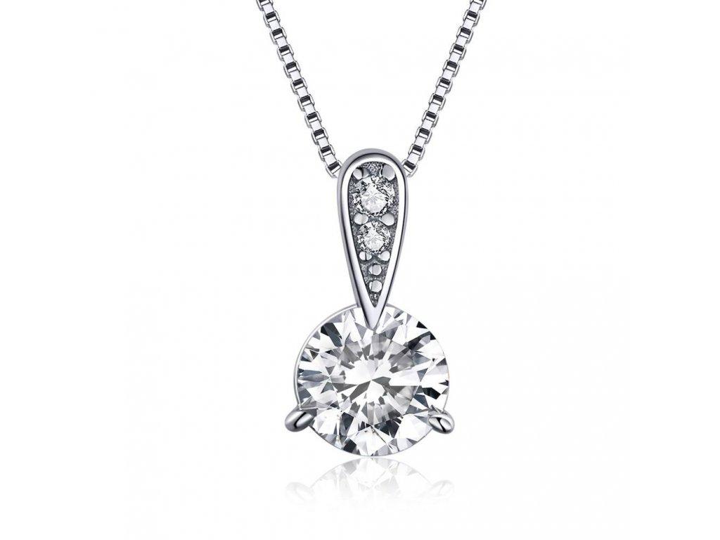 ZÁŘIVÝ ZIRKON stříbrný náhrdelník