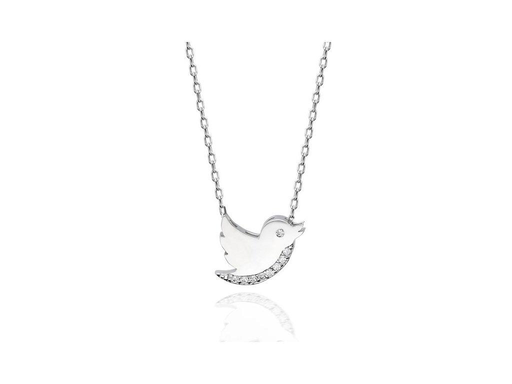 Stříbrný náhrdelník PTÁČEK se Swarovski krystaly